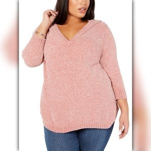 NY Collection Plus Size Chenille Hooded Sweater